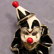 Whimsical Enamel Circus Clown Pin with Bold Deco Colors