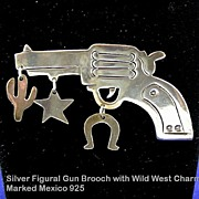 Whimsical Vintage Mexican Silver Gun Pistol Brooch