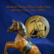 Vintage Italian Leather Rearing Horse with Glass Eyes