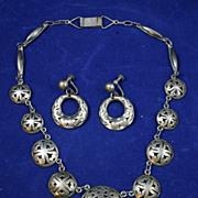 Excellent Vintage Mexican Silver Necklace and Earrings Cutout domes Signed JGT