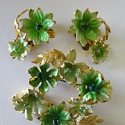 SALE Lovely Vintage Austrian Rhinestone and Enamel Floral Demi Parure- Brooch and Clip Earring