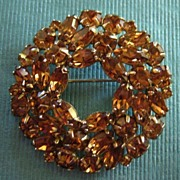 Sparkling Golden Copper Tone Vintage Weiss Rhinestone Brooch