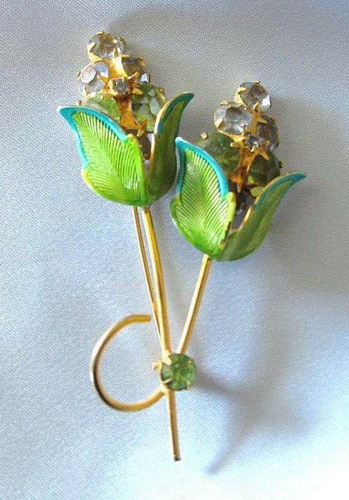 Lovely 1960's Vintage Enamel and Rhinestone Huge Floral Brooch or Pin