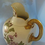 Beautiful Antique Royal Worcester Handpainted Floral Porcelain Pitcher with Gold Gilt- Circa i889
