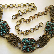 SALE Fabulous Chunky Turquoise and Carnelian Nugget Brass Tone Metal Medallion and Chain Belt