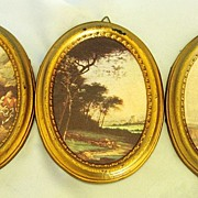 SALE Three Vintage Mid Century Oval Framed Classic Prints From Italy