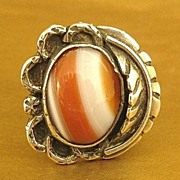 SALE Stunning Vintage Navajo Stripped Agate Sterling Silver Ring