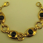 SALE Classic and Sophisticated Vintage Monet Black and Gold Tone Link Bracelet