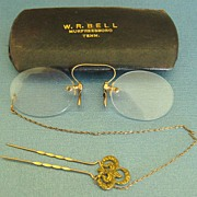 "Wonderful Antique 12K GF ""Pince Nez"" Spectacles with Ornate Hair Pin and Chain with"