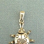 SALE Adorable Vintage Sterling Silver Ladybug Pendant or Charm