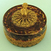 Beautiful Antique German Tortoise Shell Glass Box with Ormolu Accent and Finial