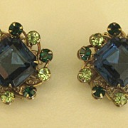 Lovely Vintage Blue and Green Prong Set Rhinestone Clip Earrings- Excellent Condition