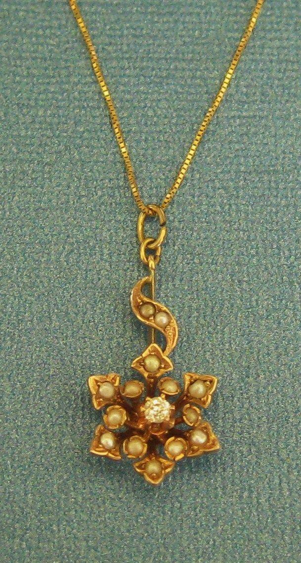 Beautiful Edwardian 14K Yellow Gold Seed Pearl and Diamond Lavalier Pendant