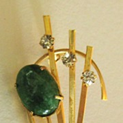 Gorgeous Sparkling Vintage Modernist Green Art Glass Cabochon and Rhinestone Brooch