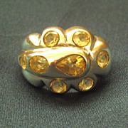 Chunky Dramatic 8 Topaz Sterling Silver Ring- Size 7 3/4