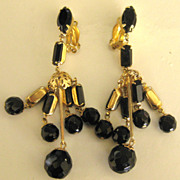 Gorgeous Vintage Faceted Black Glass Runway Dangle Earrings- 3 1/4 Inches