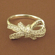 SALE Elegant Sparkling CZ and Sterling Silver Tied Bow Ring