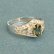 Sparkling Vintage 14K White Gold Deep Blue Topaz and Cubic Zirconia Ring- Size 6 1/2
