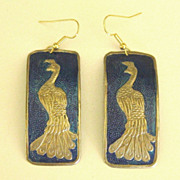 Stunning Large Vintage Stamped Enamel and Metal Pierced Earrings