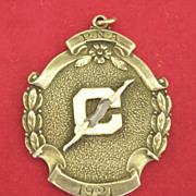 SOLD Wonderful Vintage Sterling Silver Swimming or Diving Medal- 1921
