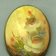 Beautiful Vintage Italian Hand Painted Roses on Shell Brooch