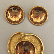 """Beautiful Vintage Bergere Brooch and Earrings Demi Parure with Faceted """"Headlight"""""""