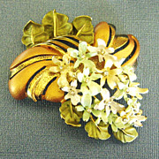 Gorgeous Vintage Enamel and Rhinestone Floral Spray Brooch