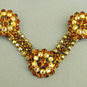 """Beautiful Vintage Unique """"V"""" Root Beer and AB Rhinestone Double Pin Brooch"""