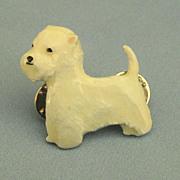 Adorable Vintage Enamel on Pewter West Highland Terrier Pin