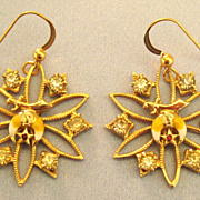 Pretty Vintage Rhinestone and Enamel Shriner's Pierced Earrings