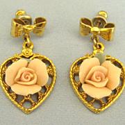 Adorable Vintage Porcelain Rose on Heart Dangle Pierced Earrings