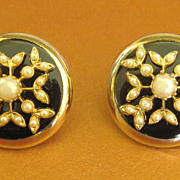Lovely Vintage Signed Coro Faux Pearls on Black Earrings