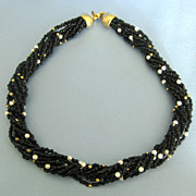 Lovely Vintage Black, White and Gold Tone Torsade Choker Necklace