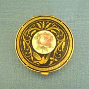 Elegant Vintage Damascene Box with Rose Medallion from Spain