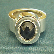 Attractive Vintage Modernist Sterling Silver Lapis Lazuli Ring- Size 5 1/2