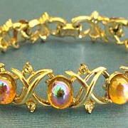 Gorgeous Vintage Coro Iridescent Glass Cabochon and Rhinestone Bracelet