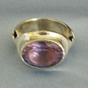 Fabulous Amethyst Sterling Silver Designer Ring- Size 5 3/4