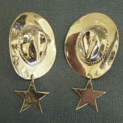 Fabulous Vintage Sterling Silver Cowboy Pierced Earrings with Star Dangles