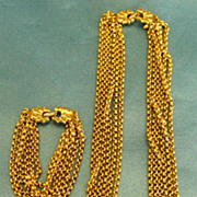 Fabulous Signed Vintage Multiple Chain Necklace and Bracelet Demi Parure