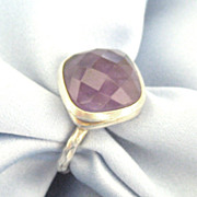 Lovely Cushion or Checkerboard Cut Sterling Silver Ring- Size  7