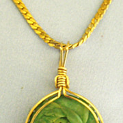 "Lovely Faux Jade Rose Floral Pendant with 30"" Chain"