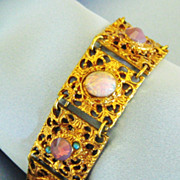 Ornate Vintage Opalescent Glass Filigree Link Bracelet