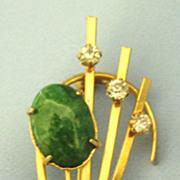 Fabulous Vintage Peking Glass and Rhinestone Modernist Brooch
