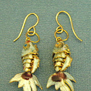 Lovely Vintage Enamel Segmented Fish Gold Filled Pierced Earrings