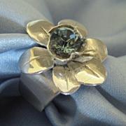 Lovely Sterling Silver Flower Ring with Swarovski Crystal Center