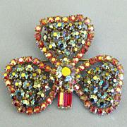 Sparkling Vintage AB Rhinestone Clover Brooch