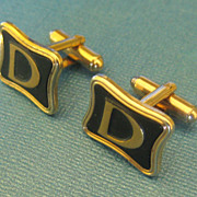 "Handsome Vintage Initial ""D"" Cuff Links by Hickok"