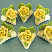 Pretty Dresden Porcelain Yellow Roses Place Card Holders