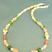Feminine Vintage Wedding Cake and Sherbet Colored Bead Necklace