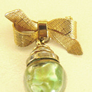 Adorable Bow Brooch with Natural Opal Filled Bottle Dangle